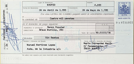 letra de cambio el cheque y el pagare: